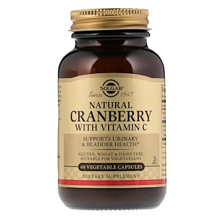 Solgar, Natural Cranberry with Vitamin C, 60 Vegetable Capsules