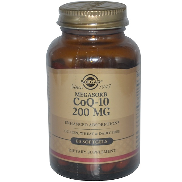 Solgar, Коэнзим Q10, 200 мг, 60 гелевых капсул (Discontinued Item)