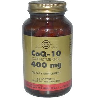 Solgar, CoQ-10 (コエンザイム Q-10), 400 mg, ソフトジェル 60 粒