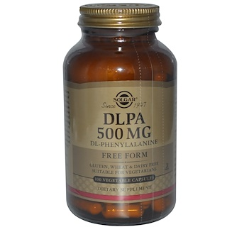 Solgar, DLPA, Free Form, 500 mg, 100 Vegetable Capsules