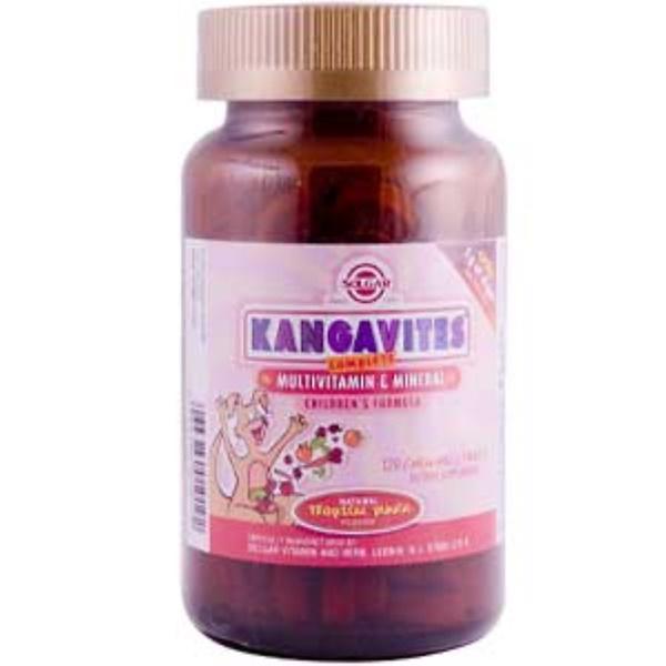 Solgar, Kangavites Complete, мультивитамины и минералы, препарат для детей, пунш из натуральных тропических фруктов, 120 жевательных таблеток (Discontinued Item)