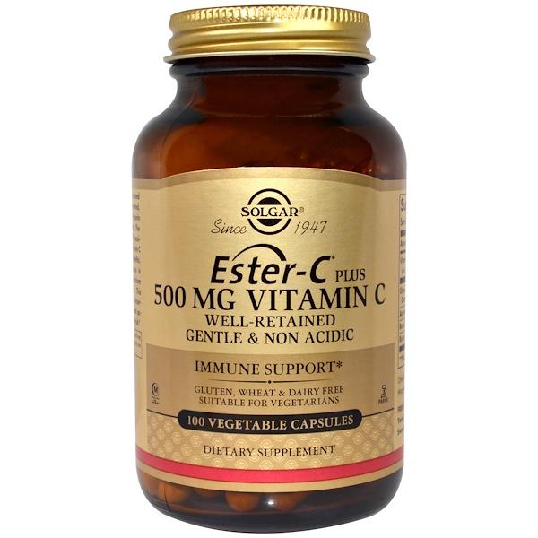 維生素維生素C酯化維他命C:Solgar, Ester-C Plus,500 mg維生素C,100粒植物膠囊