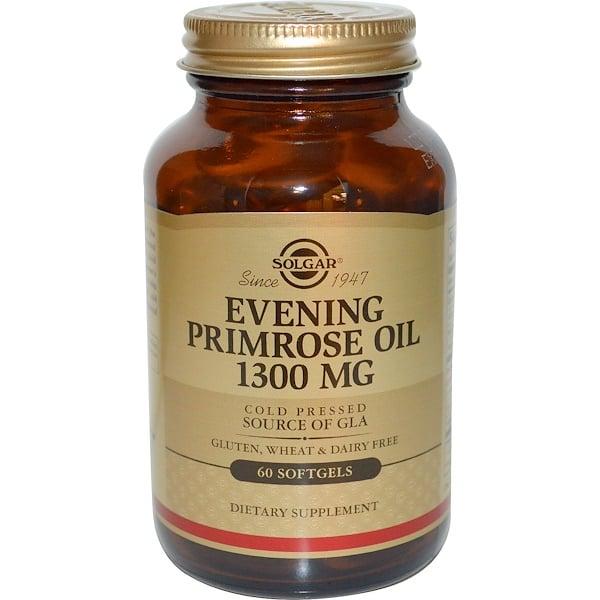 保健品EFA,歐米茄3 6 9(EPA DHA)月見草油月見草油軟膠囊:Solgar, 月見草油軟膠囊,1300毫克,60粒