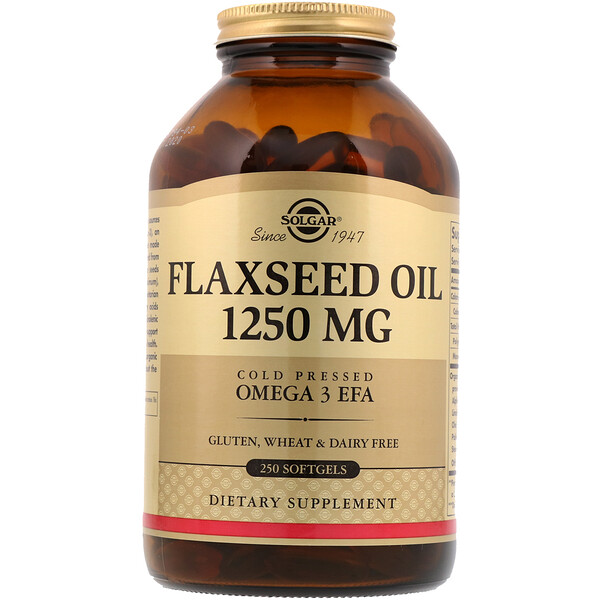 Solgar, Flaxseed Oil, 1,250 mg, 250 Softgels