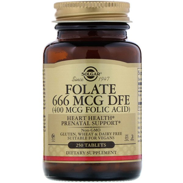 Solgar, Folate, 400 mcg, 250 Tablets