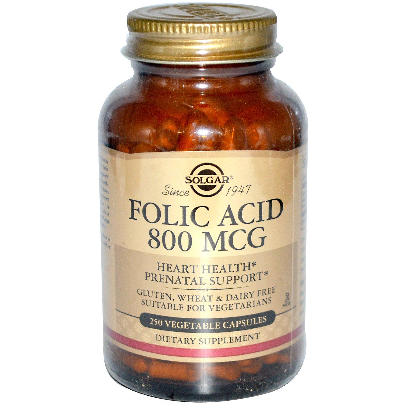 Solgar, Фолиевая кислота, 800 мкг, 250 вегетарианских капсул