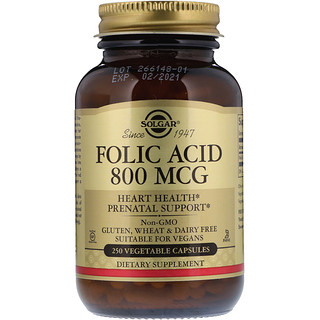 Solgar, Folic Acid, 800 mcg, 250 Vegetable Capsules