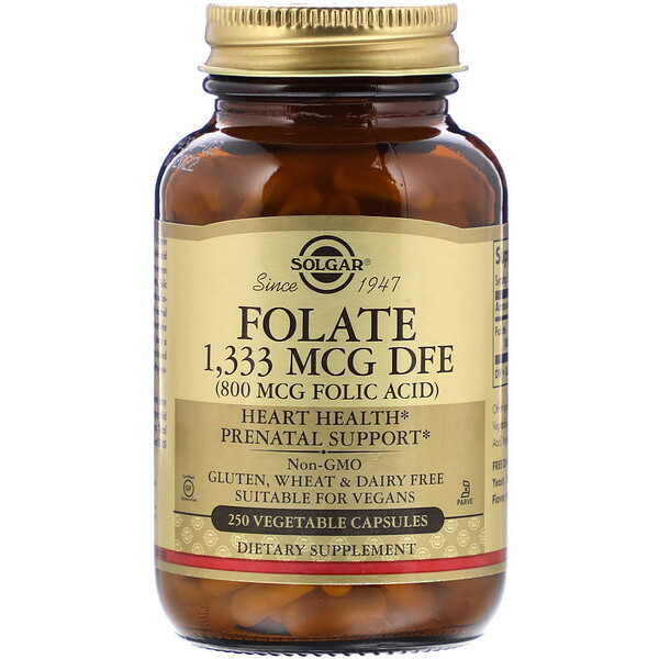 Folate, 800 mcg, 250 Vegetable Capsules