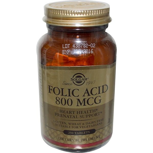 Solgar, Folic Acid, 800 mcg, 250 Tablets