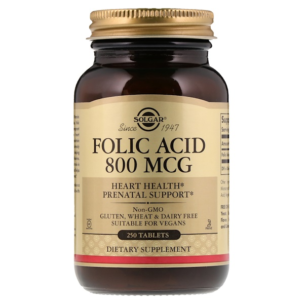 Solgar, Folic Acid, 800 mcg, 250 Tablets