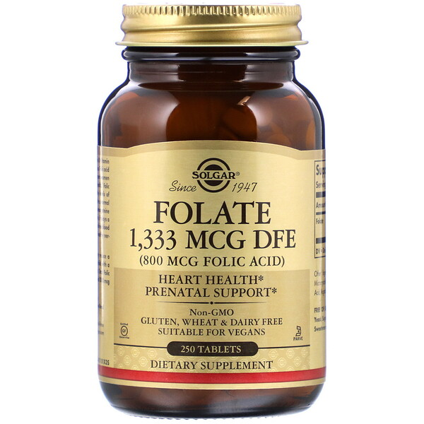 Folate, 800 mcg, 250 Tablets