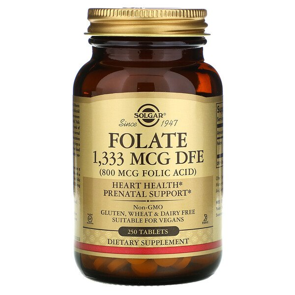 Solgar, Folate, 1,333 mcg DFE, 250 Tablets