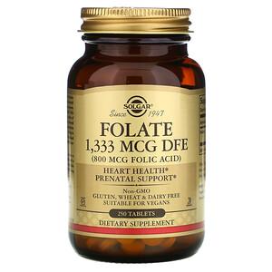 Солгар, Folate, 1,333 mcg DFE, 250 Tablets отзывы