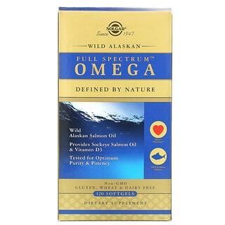 Solgar, омега-кислоты Full Spectrum, жир дикого аляскинского лосося, 120капсул