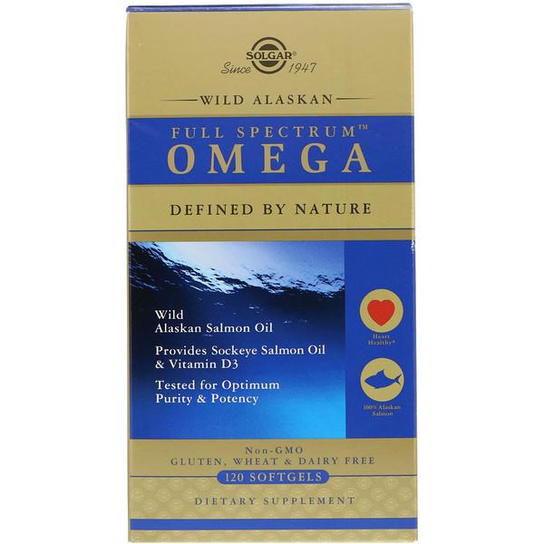 Omega de espectro completo, aceite de salmón natural de Alaska, 120 cápsulas blandas