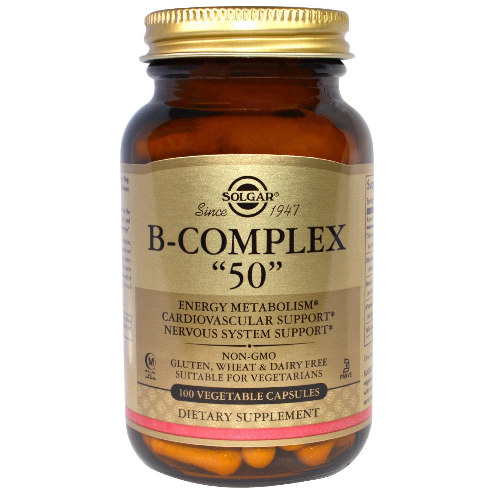 """Solgar, B-комплекс """"50"""", 100 вегетарианских капсул"""