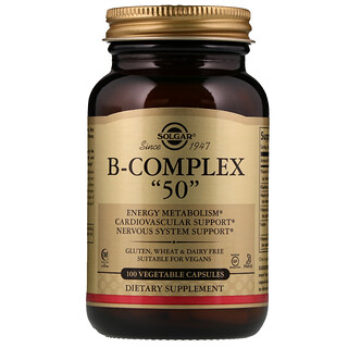 "Solgar, B-Complex ""50"", 100 Vegetable Capsules"