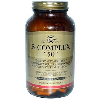 """Solgar, B-Complex """"50"""", 250 Vegetable Capsules"""