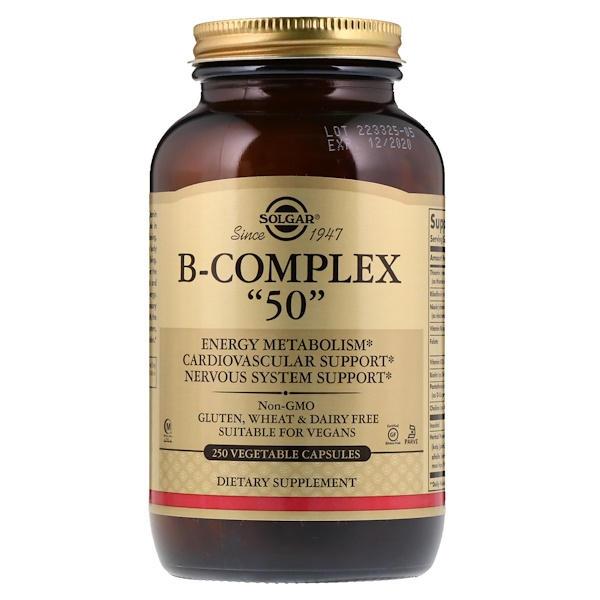 "Solgar, B-Complex ""50"", 250 Vegetable Capsules"