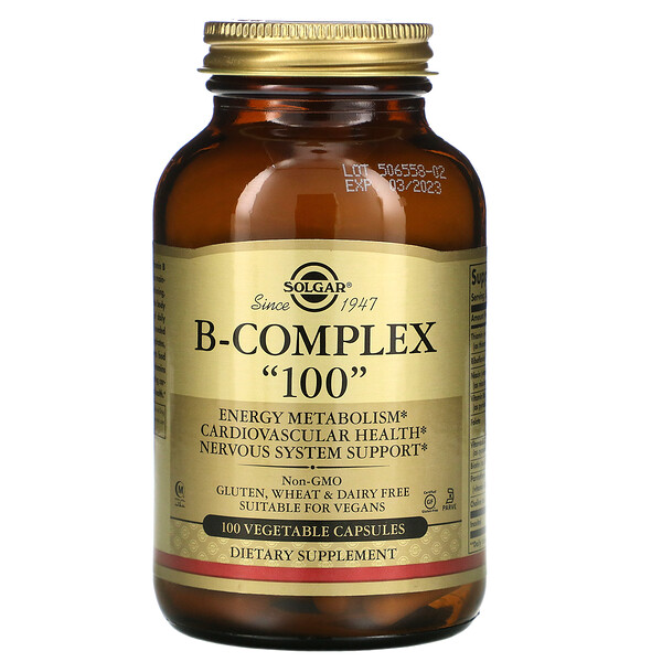 """مركب-فيتامين ب """"100""""، 100 كبسولة نباتية"""