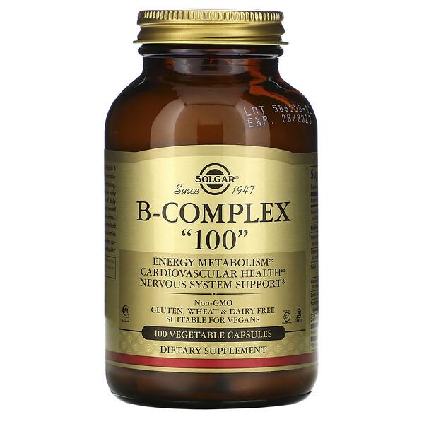 "Solgar, B-복합체 ""100"", 100 식물성 캡슐"