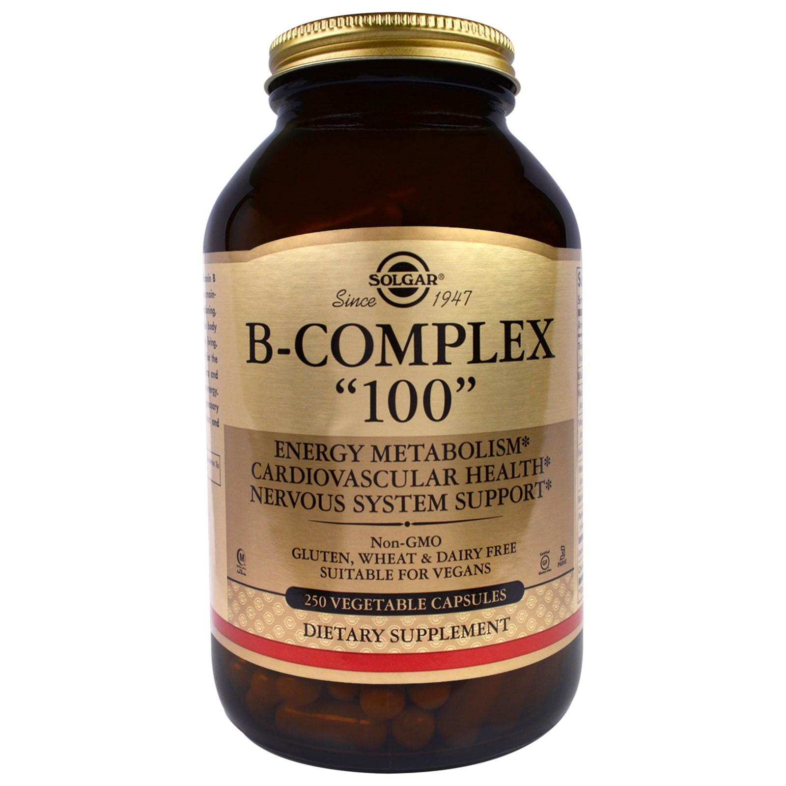 """Solgar, B-комплекс """"100"""", 250 растительных капсул"""