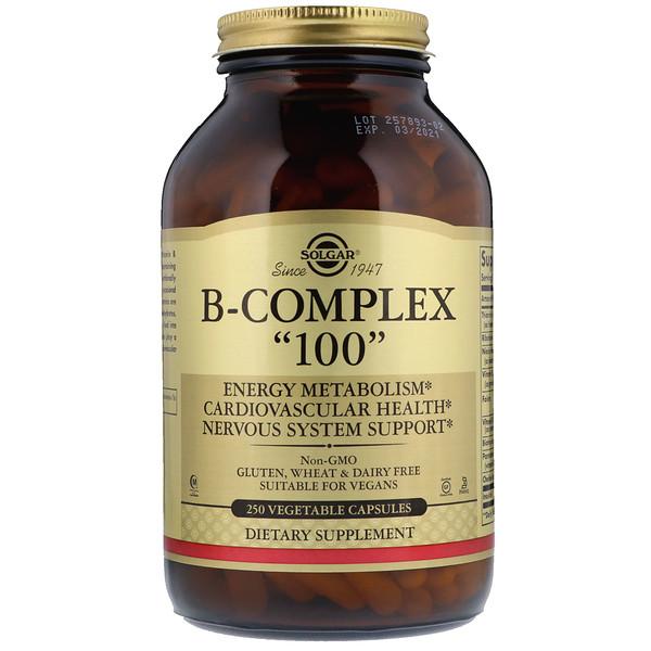 """Solgar, B-Complex """"100"""", 250 cápsulas vegetales"""