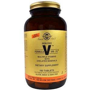 Solgar, Формула VM-75, мультивитамины и хелатные минералы, без железа, 180 таблеток