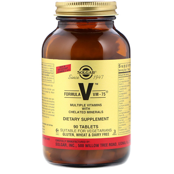 Formula V, VM-75, Multiple Vitamins with Chelated Minerals, 90 Tablets