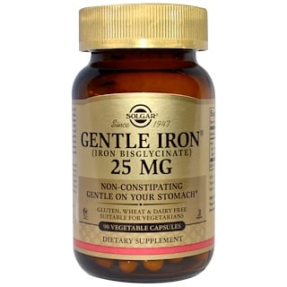 Solgar, Gentle Iron, 25 mg , 90 Vegetable Capsules