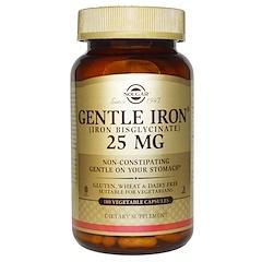 Solgar, Fer léger, 25 mg, 180 gélules végétales