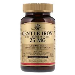 Solgar, Gentle Iron, 25мг, 180растительных капсул