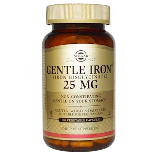 Solgar, Gentle Iron, 25 mg, 180 Vegetable Capsules