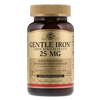Solgar, Gentle Iron, 25 mg, 180 Cápsulas Vegetais