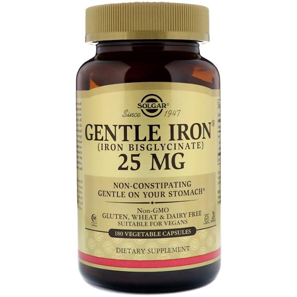 Solgar, Gentle Iron, 25 mg, 180 Vegetable Capsules