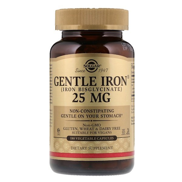 Gentle Iron, 25 mg, 180 cápsulas vegetais