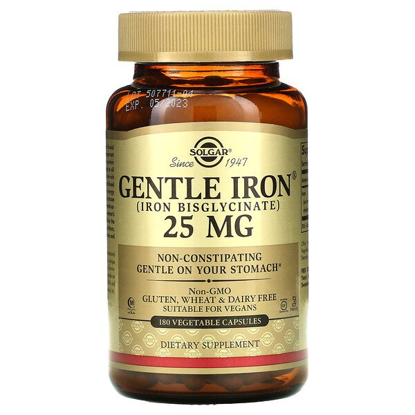 Solgar, Gentle Iron, 25 mg, 180 식물성 캡슐