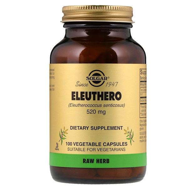 :Solgar, Eleuthero, 520 mg, 100 Vegetable Capsules
