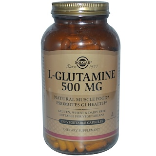 Solgar, L-Glutamine, 500 MG, 250 Vegetable Capsules