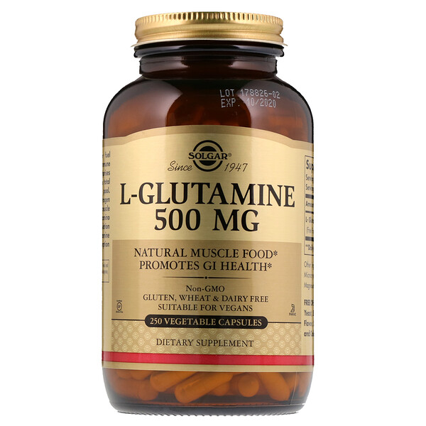 L-Glutamine, 500 mg, 250 Vegetable Capsules
