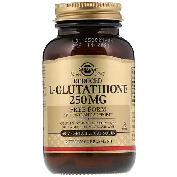 Solgar, Reduced L-Glutathione, 250 mg, 60 Vegetable Capsules