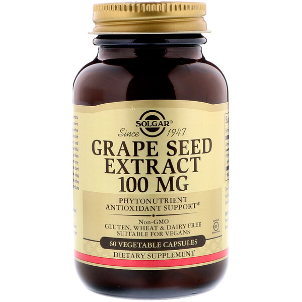Grape Seed Extract, 100 mg, 60 Vegetable Capsules