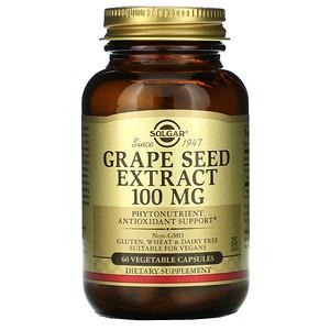 Солгар, Grape Seed Extract, 100 mg, 60 Vegetable Capsules отзывы покупателей