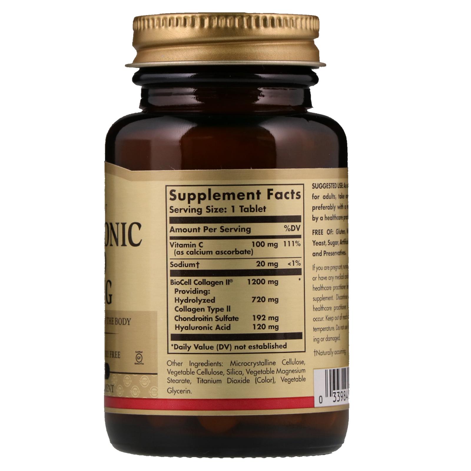 Solgar, Hyaluronic Acid, 120 mg, 30 Tablets - iHerb.com