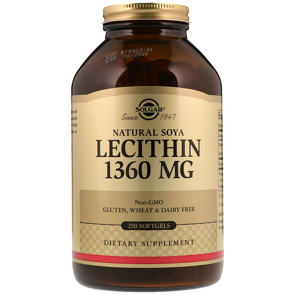 Solgar, Natural Soya Lecithin, 1,360 mg, 250 Softgels