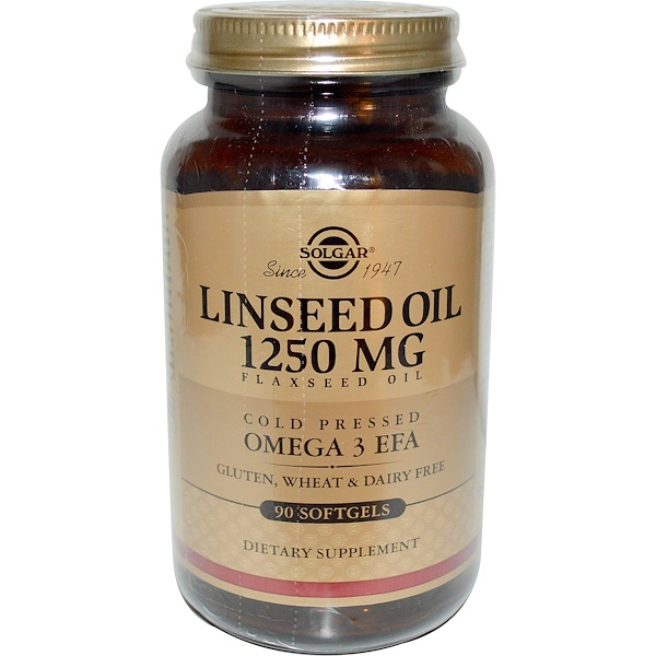 Solgar, Linseed Oil, 1250mg, 90 Softgels (Discontinued Item)