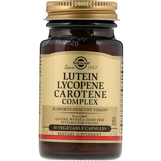 Solgar, Complexe de Lutéine Lycopène Carotène, 30 gélules végétales