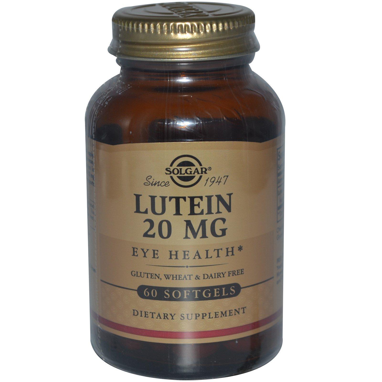 Solgar, Лютеин, 20 мг, 60 капсул