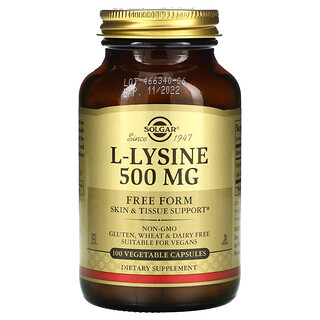 Solgar, L-Lysine, Free Form, 500 mg, 100 Vegetable Capsules
