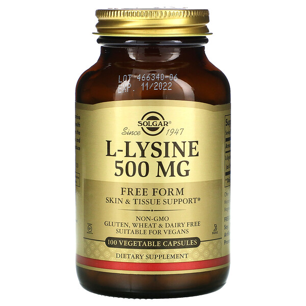 L-Lysine, Free Form, 500 mg, 100 Vegetable Capsules